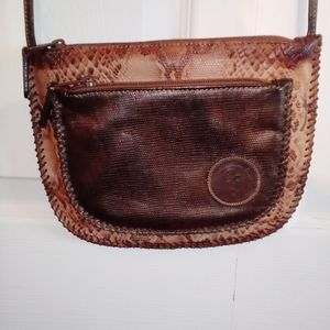 Carlos Falchi brown snake skin cross body purse
